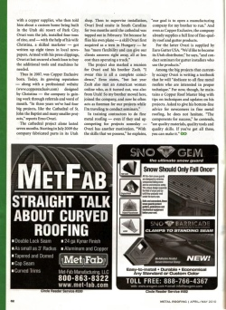Featuring Copper Exclusive in Metal Roofing Magazin 4/4 page