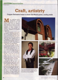 Featuring Copper Exclusive in Metal Roofing Magazine