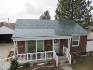 Green galvalume shingle roofing